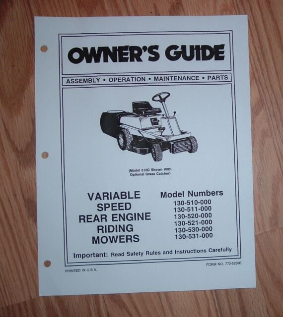 mtd models 510 511 520 521 530 531 riding mower owners manual with rh ebay com MTD Online Manuals MTD Lawn Tractor Manual