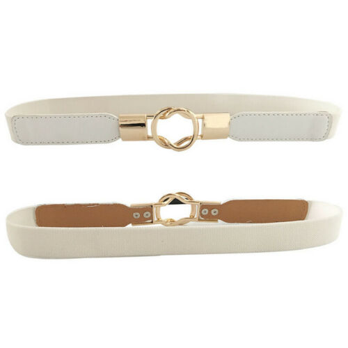 Womens Stretch Elasticated Waist Belts Gold Buckle Fashion Dress Pants Waistband