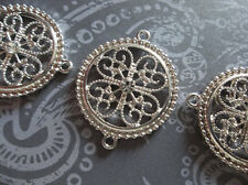 3 Jewelry Connectors Large SIlver Filigree Medallions Clear Rhinestone 26x32mm