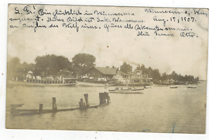 1907-RPPC-Real-Photo-Postcard-Winneconne-Wisconsin-Riverfront-View-Boats-Steamer