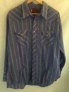 Vtg-Rustler-Cowboy-Western-Pearl-Snap-Shirt-Mens-Sz-18-34-35-Blue-W-Stripes