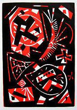 OTTO NEBEL: ROT ORIGINAL-FARB-LINOLSCHNITT 1963 WERKVERZEICHNIS L555
