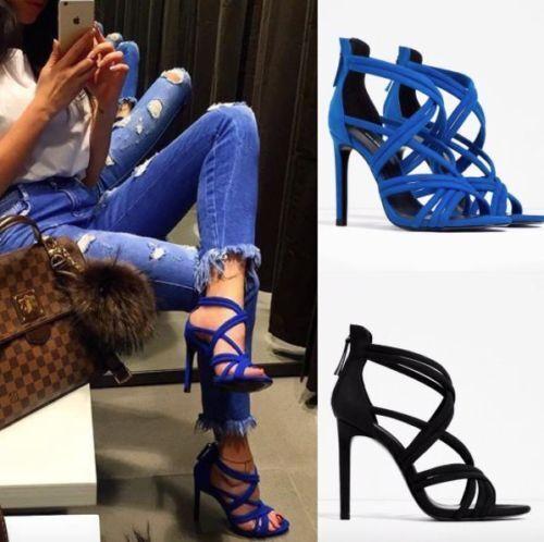 Zara Azul Gamuza Tacón Alto Sandalias De Tiras Talla UK7 EUR40 US9