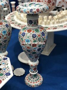 """30"""" Exquisite Marble Flower White Inlay Pot Christmas Home Decorative Gift E191"""