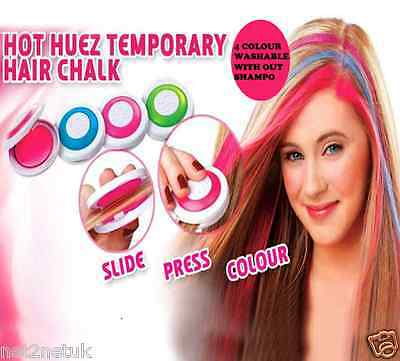 KIDS GIRL WOMENS HOT HUEZ SET OF 4 BRIGHT PARTY COLOURS NEW TEMPORARY HAIR CHALK