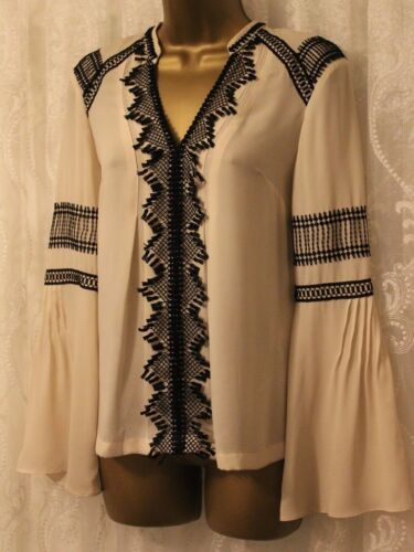 Uk Pintuck Shirt Blouse Top Ivory Lace 10 Millen Boho Party Karen 38 Applique IBwvAHvq