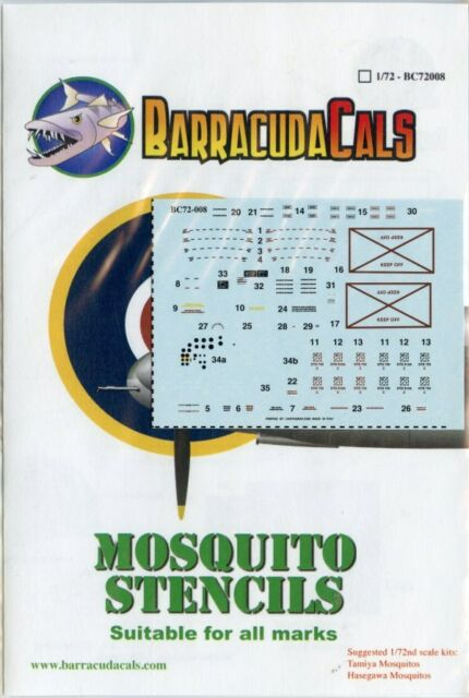 BarracudaCals 1:72 Mosquito Stencils Suitable For all Marks #BC72008