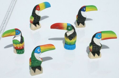 Lot 6 Small Balsa Wood Toucans Figurines Hand Carved Handmade Handcrafted Birds