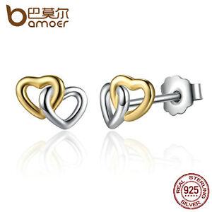 Details About Bamoer S Sterling Silver Stud Earrings Double Heart