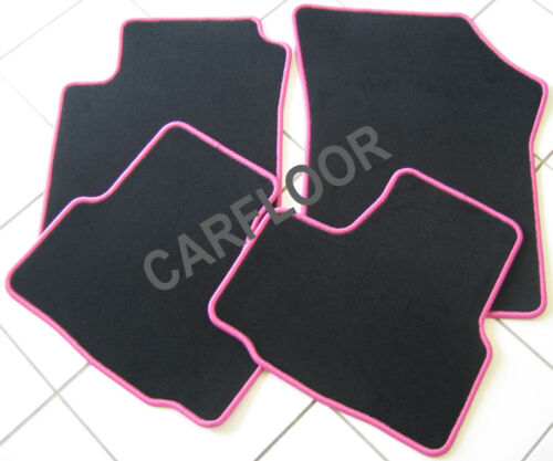 Peugeot Partner Tepee ab 5.08 Fußmatten Velours schwarz mit Rand pink