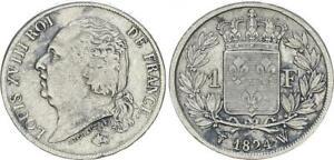 Lille France 1 Franc 1824 W Ludwig XVIII VF 60906