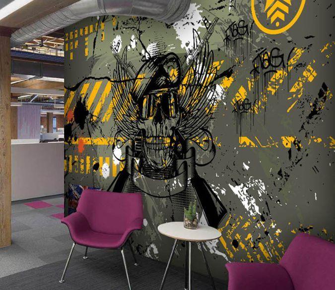 3D Militaire Graffi Photo Papier Peint en Autocollant Murale Plafond Chambre Art