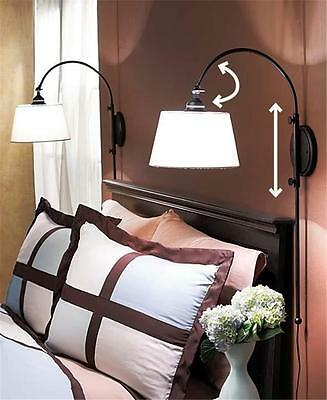 ONE ADJUSTABLE BLACK METAL WALL LAMP W/WHITE SHADE - PERFECT FOR READING IN BED!
