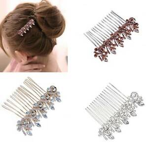 Wedding-Crystal-Hair-Comb-Pins-Clips-Flower-Bridal-Hair-Accessories-New