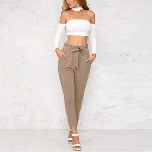 Womens-Solid-Chiffon-High-Waist-Harem-Pants-Bow-Tie-Drawstring-Pencil-Trouser-WA