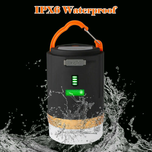 USB Rechargeable LED Camping Tent Light Outdoor Lantern Night Lamp Phone Charger