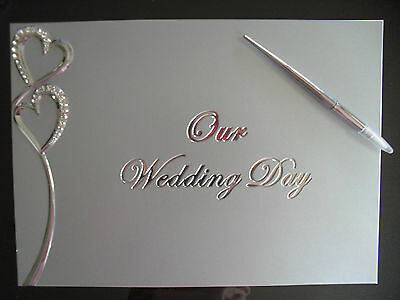 Wedding Guest Book - Brushed Silver With Diamante Love Hearts And Pen