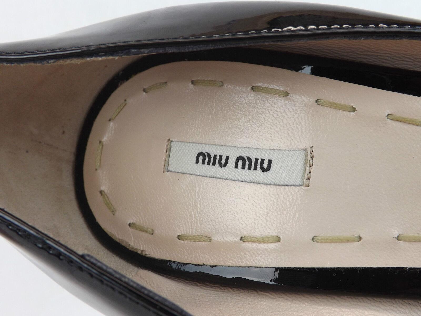 Nuevo En Caja Miu Miu Prada Charol Negro Negro Charol Plataforma Peep Toe bombas de cuello en V 40 a6344f