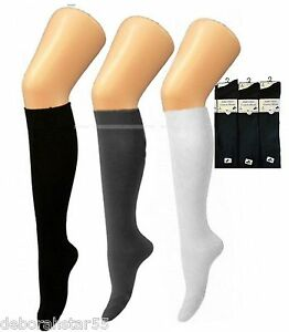 25b55537d89 Knee High Socks 6 PAIRS Black White Grey Navy Long School Socks UK ...