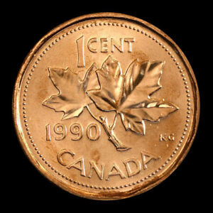 1990  Canada   1 cent     uncirculated  coin from roll