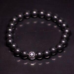 Shungite bracelet, beads 8mm, Healing and Protection, genuine Karelian shungite