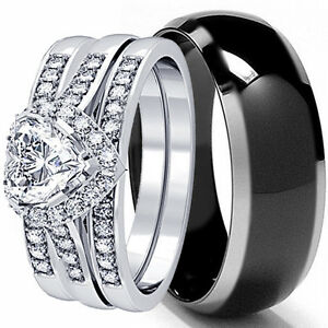 HIS-AND-HERS-4-PCS-MENS-WOMENS-STERLING-SILVER-BLACK-TITANIUM-WEDDING-RINGS-SET