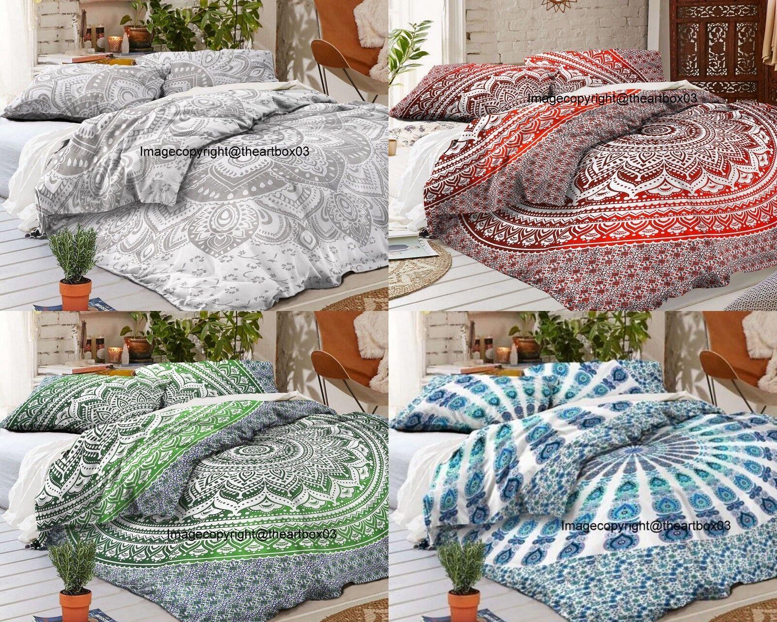Indian Ombre Mandala Cotton Queen Size Duvet Doona Cover Ethnic Comforter Set