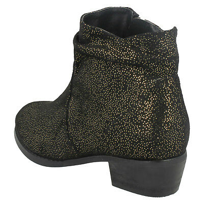 Girls Black Spot On Cowboy Style Fashion Ankle Boots H5082