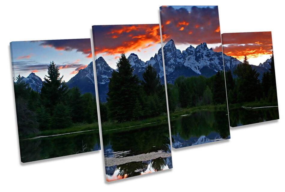 Teton montañas rocosas Caja Sunset Multi tela pared arte En Caja rocosas Enmarcado 9df908