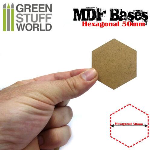 Thickness 3mm 5x MDF Hexagonal 50mm bases Shadespire Laser Cut Wargames