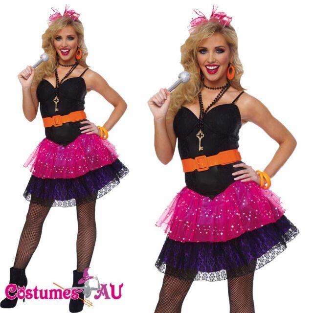 Ladies Madonna 80s Costume Pop Star Diva 1980s Hens Party Dance Fancy Dress