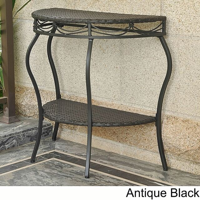 Vintage Black Half Moon End Table Outdoor Semi Circle Shelf Resin Wicker Steel