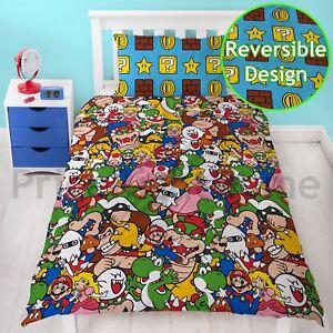 Nintendo Super Mario Gang Single Duvet Cover Set Kids Bedding Reversible Champs