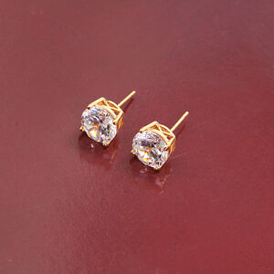 is filled itm earrings gold yellow stud loading stone ladies white gift image s men