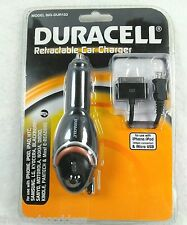 Duracell Retractable Car Charger Apple iPhone iPadMicro USB BIG-DUR153 Black NEW