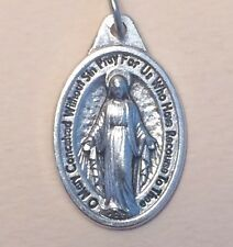 Miraculous Medal Oxidized Silver Made in Italy 1 inch