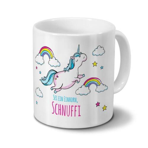 Tasse mit Namen Schnuffi Motiv Dickes Einhorn