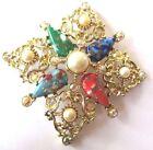 broche pendentif émaux perle bijou vintage couleur or cristaux borèalis *507
