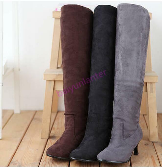 Stylish Kitten Heel Womens Stretch Boots Over the Knee High Boots shoes Hot Sz