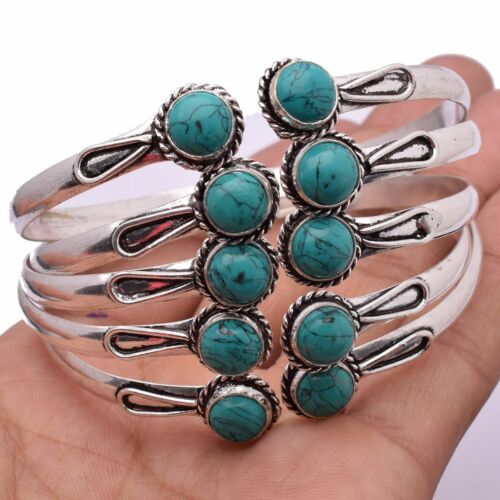 Turquoise 5pcs Wholesale Lots 925 Sterling Silver Plated Cuff Bangles KBN-175