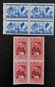 US Stamps, Scott #1010 & 1097 3 C Lafayette questions blocs de 4 très fine/XF M/jamais à charnière. frais.