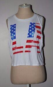 7ecc081d248e FOREVER 21 Womens White LA American Flag Crop Tank Top Small ...