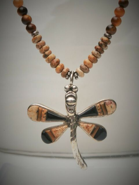 "Southwest Mystery Artist 16.5""+ Sterling Silver Brown Stone Dragonfly Necklace"
