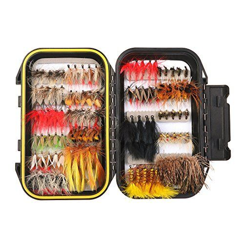 NEW 100PCS Fly Fishing Flies Kit Assorted Trout Lures with Waterproof Box
