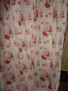 Details About SPIEGAL NORFOLK ROSES RED CREAM FLORAL SPLIT FABRIC SHOWER CURTAIN COTTON BLEND