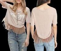 Free People Tear It Up Tee Small 2 4 Pink Graphic Distressed High Low Unique
