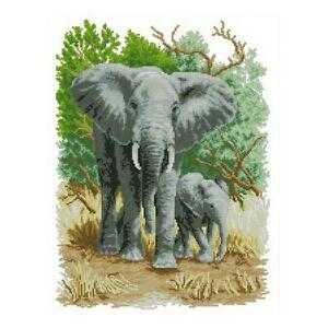 Home-Decor-Elephants-and-Her-Baby-Stamped-Cross-Stitch-Kit-11CT-Embroidery-Set-i