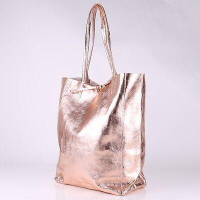 Metallic Glitzer Lack Tasche Italy Leder Rose Gold Shopper Borse in Pelle NEU