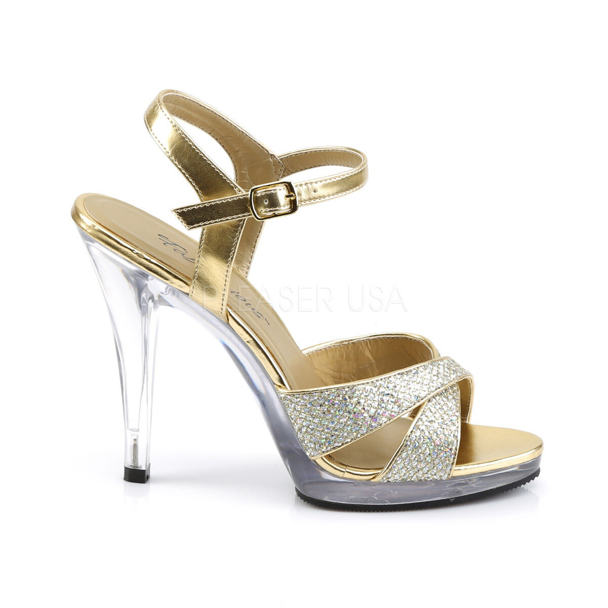 Fabulicious 4.5  Heel Mini Platform gold Glitter Buckle Princess Sandals 5-16