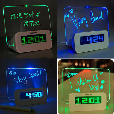 LED Fluorescent Message Notice Board Digital Alarm Clock Calendar Night light